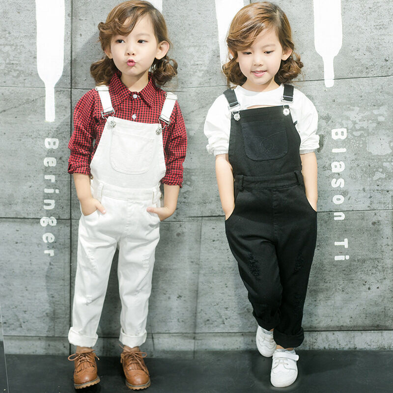 Girl Overalls Rompers Dungree Jumpsuit Kid Pant Jeans Trousers Toddler Denim Bib