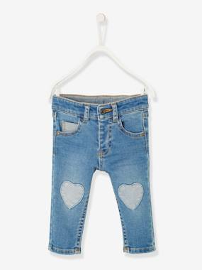 Jeans with Heart-Shaped Patches, for Baby Girls denim blue
